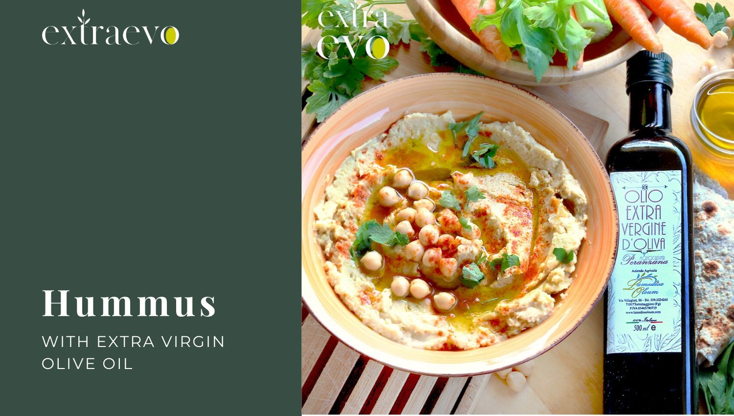 Homemade Hummus Recipe with Extra Virgin Olive Oil